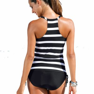 Two Piece Swimwear Women Plus Tankini Swimsuits Push Up Womens Bathing Suits Stripe Swimming Suit Large Size Bikini M-2XL MX200613