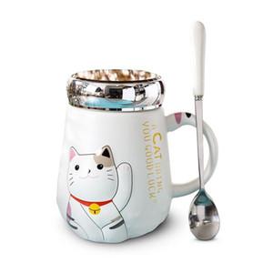 500ml dos desenhos animados Cat resistente ao calor Copa dos desenhos animados a cores com tampa Copa do gatinho Leite café cerâmica Caneca Crianças Copos Presentes Escritório de Verão