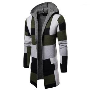Hommes Pulls Contrast Mode couleur Homme Vêtements Plaid Imprimé hommes Designer Pulls manches longues Cardigan à capuchon