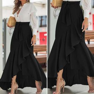 2020 moda mulheres assimétricas babados saia fishtail maxi saia celmia verão alta cintura festa casual solta sereia saias 7