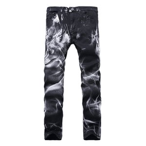 Newsosoo New Arrival Men's Wolf Printed Jeans Men Slim Fit Straight Skinny Jeans Pants Fashion Designer Nightclub Trousers