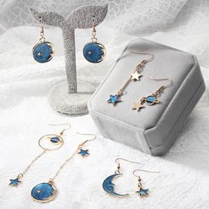 Coeur de filles bleu étoiles lune planète boucles d'oreilles petites boucles d'oreilles fraîches longues asymétriques boucles d'oreilles de mode