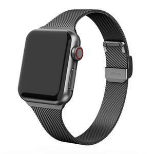 Milanese correa del reloj para Apple 4 5 44 mm 40 mm iWatch 3 2 1 42 mm 38 mm delgado metal del acero inoxidable pulsera de malla Bandas