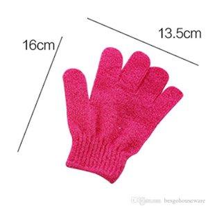 Großhandel Moisturizing Spa Hautpflege-Tuch-Bad-Handschuh Five Fingers Peeling Handschuhe Gesicht Körper Bade Haltbare weiche Handschuhe BC BH0623