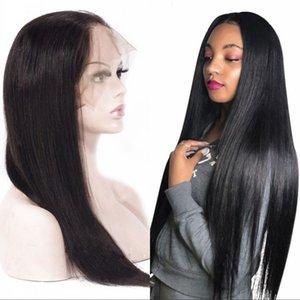 Vergine peruviana dei capelli 360 merletto della parte anteriore dei capelli umani parrucche Pre pizzico linea sottile diritta pizzo parrucca frontali con dei capelli del bambino
