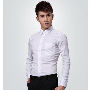 Novo estilo fino de manga comprida terno do noivo Algodão Branco Men casamento / Prom / Jantar noivo camisas do desgaste noivo camisa do homem