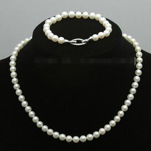 Prett Beau charme de mariage des femmes Jew.656 White Pearl rose d'eau douce de jeux Akoya Bracelets Collier