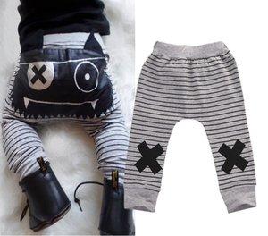 Sonbahar Erkek Bebek Kız Pantolon Bebek Harem Çizgili Küçük Canavar Elastik Toddler Altları Pantolon Legging Pantolon Erkek Girsin Giyim