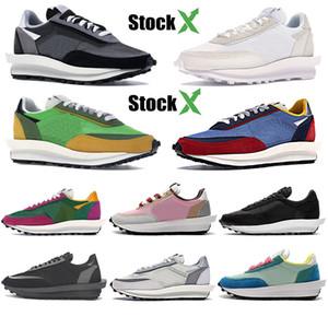 К 2020 году новые sacai ЛД вафельные Мужчины Женщины Повседневная обувь сосна зеленый мульти кактус Джек тройной черный белый нейлон мужская мода спортивные кроссовки
