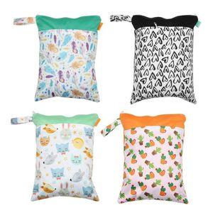 1PC reutilizable impermeable de moda imprime seco mojado bolsa de pañales de tela de bolsillo doble manija Wetbags 30 * 40 CM bolsa de maternidad