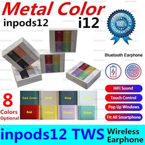 Metallo Colore inpods12 MACARON inpods 12 TWS placcatura i12 auricolare senza fili Bluetooth V5.0 con finestra pop-up Touch Control Cuffia