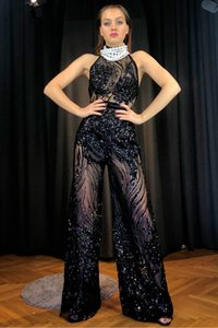 Sexy Jumpsuits Women Rompers 2020 Black Lace Neck Halter Playsuit Sleeveless Sexy Sequins Loose Long Pants Fashion Romper Party Jumpsuit