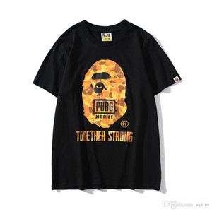 Лето новых людей Печать Повседневный вокруг шеи хип-хоп футболки мужских видов спорта дышащего Orange Camo Сыпучей Большого размером футболка