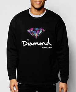 Crew Neck Autumm Designer Long Sleeve Homme Clothing Fashion Casual Apparel Diamond Print Solid Color Mens Hoodies