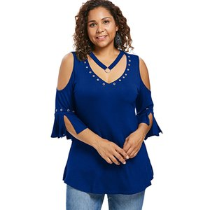Wipalo Plus Size Grommets Detail V Neck T-Shirt Fall Summer Solid Color Three Quarter Long Women T-Shirts Casual Tops Clothing