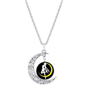 1 nouveau croissant belle fille amour collier demi lune Sailor Moon chanceux amulette collier creux lune temps pierre précieuse pendentif collier