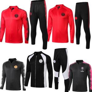 Fermuar ile 18 19 PSG siyah beyaz kırmızı ceket eşofman eğitim takım elbise spor MBAPPE şampiyonu spor yüksek kalite eşofman 2018