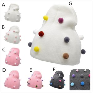 Infants colorful pompons knitted hat for 6m-5T Cute solid color knitting hat with pompons for baby girls boys autumn winter warmer headwear