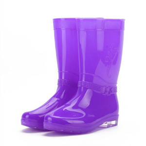 Hot Sale-Women Rain Boots Ladies Comfortable Mid Calf Solid Round Toe Slip Waterproof Charm Rainboots 2016 New Fashion Design Rainbow Colo