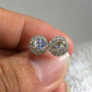 Moda 1 cuenta del corte redondo Moissanite Grado de aretes de circonio de cristal 925 de oreja de compromiso nupcial Espárragos regalos de joyería para las mujeres