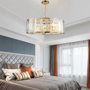 lujo de cristal K9 Contemporary lámpara del oro iluminación de lámparas de araña de acero inoxidable living luz comedor lámpara de techo de dormitorio