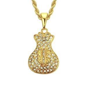 Ouro hip hop charme pingente de colar de jóias Hiphop colar para homens Material ecológico Dinheiro saco forma jewely atacado