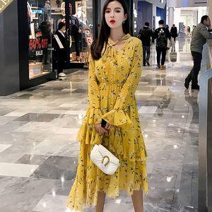 BGTEEVER Casual Rüschen Blumendruck Lange Frauen Kleid Elastische Taille Aufflackernhülse Weibliche Vestidos Frauen A-line Kleid 2019 T190610