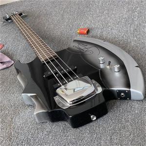 Freies Verschiffen, Heavy Metal Chopper GENE SIMMONS AX E-Bass Guita Schwarz 4 Saiten E-Bass-Gitarre Chrom Pickup Abdeckung Strings Thru