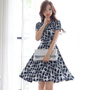 CINESSD Plaid-Kleid für Frauen Sommer Kurzarm Polyester V-Ausschnitt elastische Weibliche beiläufige Sexy Club Partei Midi Eine Linie Kleider