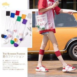 20 summer thin card stockings transparent personalized glass silk knee-high crystal women's socks women's calf socks