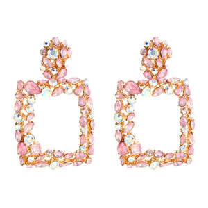 Pink statement earrings for women large square crystal big earrings 2019 rhinestone drop earing  geometric fashion jewelry