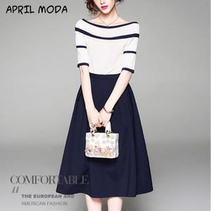 Moda ombro palavra Striped Sweater Pendulares sólida Estilo cor da costura da saia de duas peças Terno Terno Primavera-Verão New Ladies