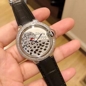 시계 레오파드 DialBezel 여성 시계 석영 배터리 운동 블랙 가죽 스트랩 레이디 여성 보석 시계 손목 시계 36MM