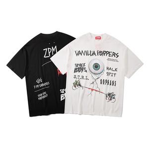 Mens magliette alta Hip Hop nero del bulbo oculare Lettera Graffiti Stampa manica corta Streetwear casuale M-XL
