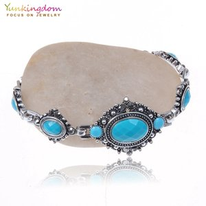 Yunkingdom European Style Vintage Ancient Silver Color Resin Ethnic Bracelet Womens Big Oval Bracelet Jewelry Gift