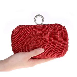 Borsa Designer- strass anello di cristallo Foglia modello a mano in rilievo borsa da sera perline frizione borsa elegante Foglie borsa Knuckle scatola - S3978