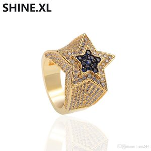 Hip Hop Men Gold Ring Micro Pave Zircon Iced Out Lab Diamond Star Rings Charm Bling Jewelry