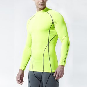 Hot Sales Fitness Sports Tights Men's Elasticity Long Sleeve Stand Collar Quick-Dry Compressed T-shirt Order