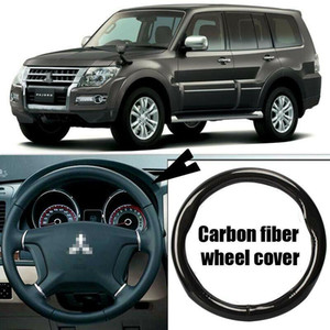 Car-styling black carbon fiber PVC leather car steering wheel cover for Mitsubishi Pajero