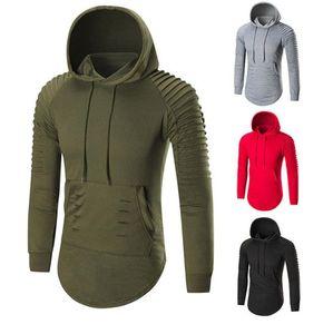 20ss Mens-beiläufige Hoodies Modedesigner Solide Ruched Langarm-Kapuzenpulli Homme dünne Pullover Tops