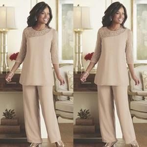Zarif Dantel Anne Gelin Pant Suits 2019 Yaz Şifon Custom Made Uzun Kollu Düğün Konuk Giyim Anne Elbise Tulumlar