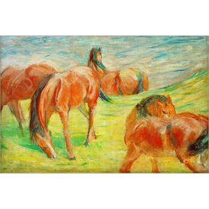 Dipinto a mano su tela Franz Marc Grazing Horses I beautiful Pittura a olio per decorazione murale