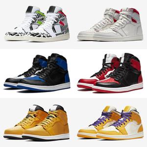 2020 Нового 1S Мужчины Детей Баскетбол обувь Золото Черного Toe Top 3 Mid Разводит многоцветная обувь 1 PSG Pine Green Sport Sneakers