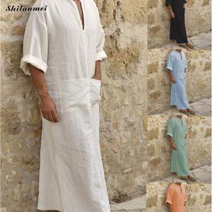 Плюс Размер 5XL 4XL Мусульманин Исламская Ткань Лето Джуба Тобе Халаты Кафтан Карман Твердый Арабский Дубай С Коротким Рукавом Абая Одежда