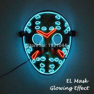 20 New Styles EL Wire Glowing Mask Party Mask LED Neon Light Up Neon Mask for Halloween Party Scary Party Toys Them Cosplay Decor