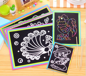 Magic Color Scratch Art Paper Coloring Cards Scraping Drawing Toys for Children kids GYH GB594