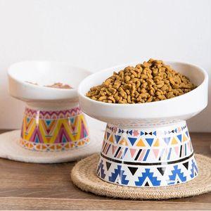 2 Größen rutschfeste Keramik Katzennapf mit Mat Cervical Protect Pet Food Tränken Keramiknapf Futterstatio Pet Supplies