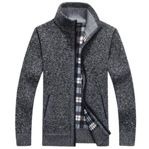 Men Fleece Sweater Casual Style Stand Collar Cotton Material Wool Warm Sweatercoat Autumn Winter Cardigan With Pocket Hot Sale