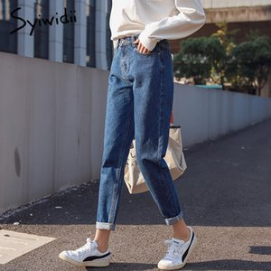 Algodón blanco Jeans mujer de cintura alta pantalones vaqueros flacos de la mujer más tamaño Mom Jeans Negro 2019 Primavera Nuevo amarillento azul de la venta caliente MX190729