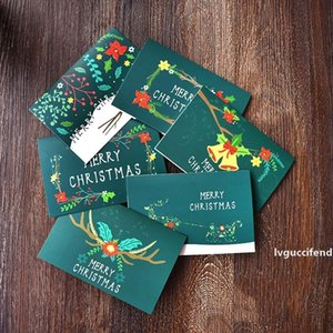 Green Merry Christmas Greeting Card Xmas Party Invitation Card Gift Blessing Card Christmas Greeting Cards New Year Postcard DBC VT1215